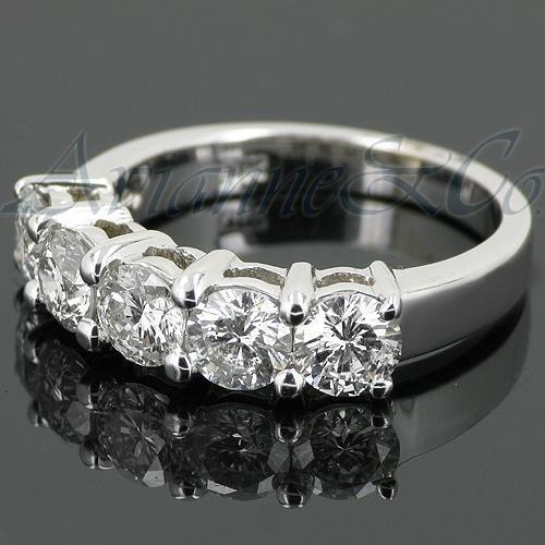 14K White Solid Gold Womens Five Stone Diamond Anniversary Ring 1.70 Ctw