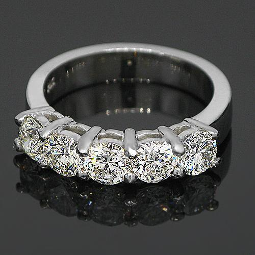 14K White Solid Gold Womens Five Stone Diamond Anniversary Ring 1.85 Ctw