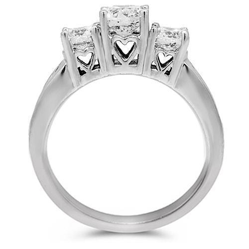 14K White Solid Gold Womens Three Stone Diamond Engagement Ring 1.41 Ctw