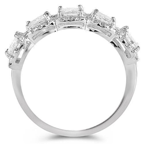 14K White Solid Gold Womens Wedding Ring Band With Round And Princess Cut Diamonds 1.69 Ctw