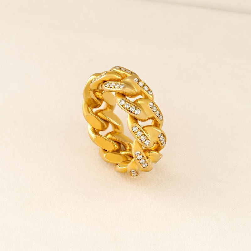 14k Yellow Gold Cuban Link Ring 1.50 Ctw