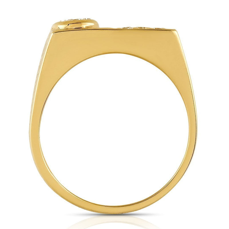 14K Yellow Gold Mens Diamond Pinky Ring 0.75 Ctw