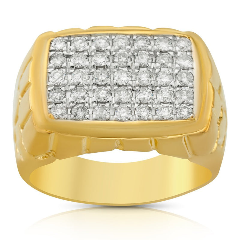 14K Yellow Gold Mens Diamond Pinky Ring 1.50 Ctw