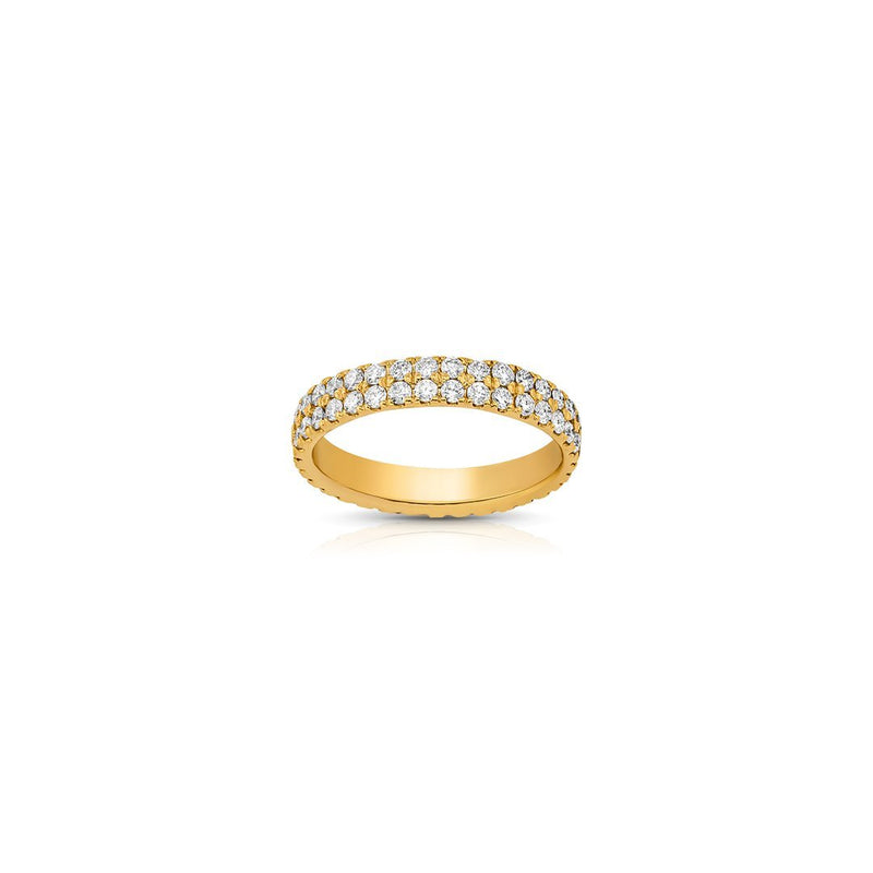 14K Yellow Gold Two Row Eternity Diamond Band 1.25 Ctw