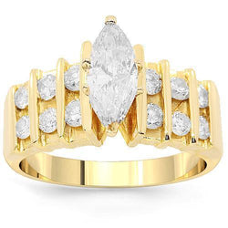 14K Yellow Solid Gold Beautiful Diamond Engagement Ring 1.85 Ctw