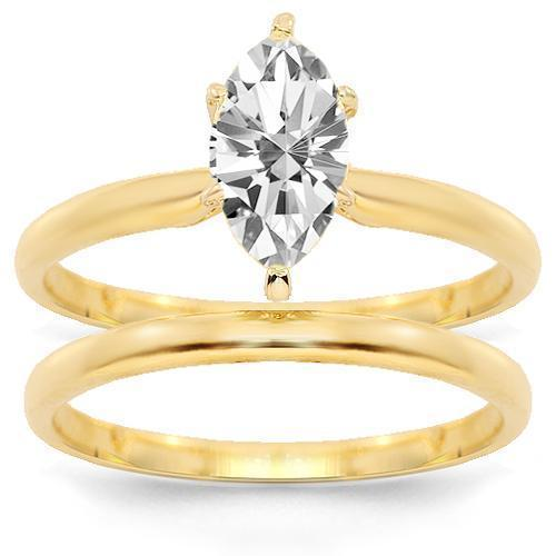 14K Yellow Solid Gold Diamond Bridal Ring Set 0.99 Ctw