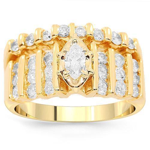 14K Yellow Solid Gold Diamond Bridal Ring Set 1.25 Ctw