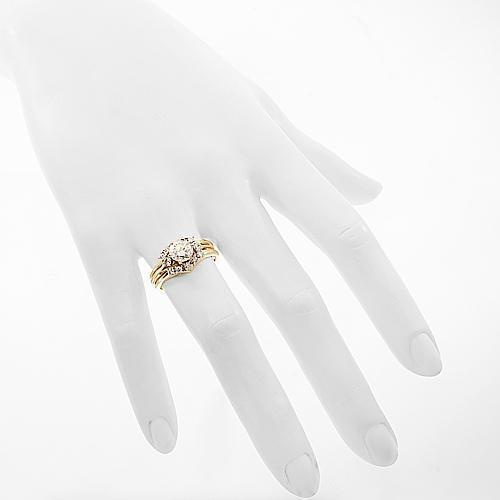 14K Yellow Solid Gold Diamond Bridal Ring Set 1.59 Ctw