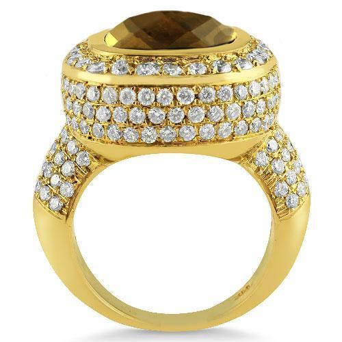 14K Yellow Solid Gold Diamond Mens Champagne Citrine Ring 4.7 Ctw