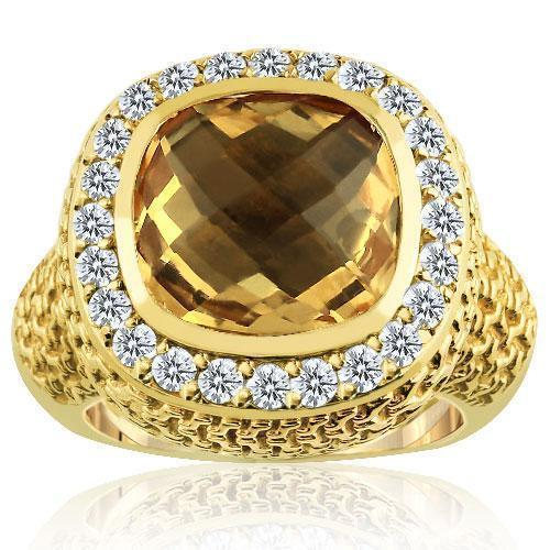 14K Yellow Solid Gold Diamond Mens Champagne Citrine Ring 4.70  Ctw