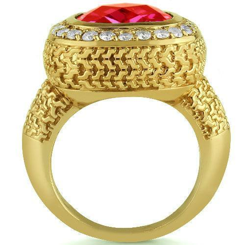 14K Yellow Solid Gold Diamond Mens Natural Ruby Ring 7.50 Ctw