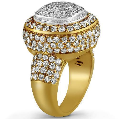 14K Yellow Solid Gold Diamond Mens Ring 4.00 Ctw