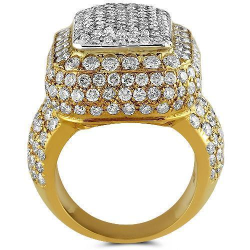 14K Yellow Solid Gold Diamond Mens Ring 7.62 Ctw