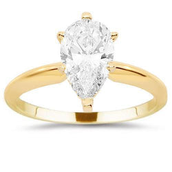 14K Yellow Solid Gold Diamond Solitaire Engagement Ring 1.50 Ctw