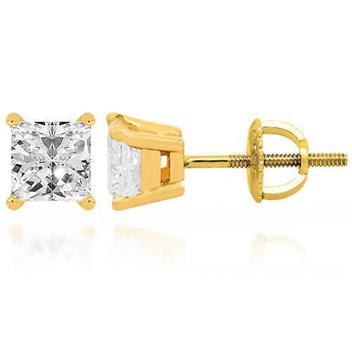 14K Yellow Solid Gold Diamond Solitaire Stud Earring 1.50 Ctw