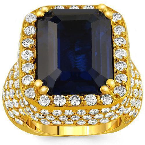 14K Yellow Solid Gold Large Diamond Mens Blue Sapphire Ring 18.00 Ctw