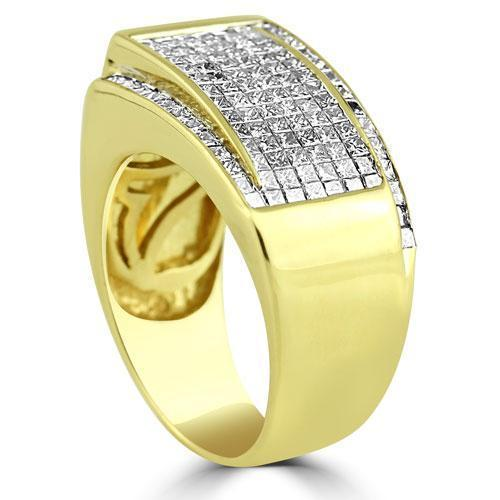 14K Yellow Solid Gold Large Mens Diamond Princess Cut Ring 2.50 Ctw