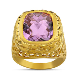14K Yellow Solid Gold Mens Amethyst Pinky Ring 8.00 Ctw