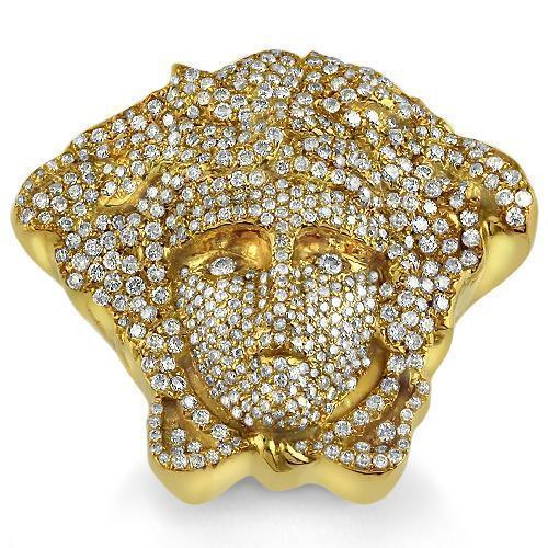 14K Yellow Solid Gold Mens Custom Diamond 'Medusa' Ring 4.65 Ctw