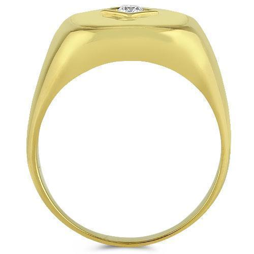 14K Yellow Solid Gold Mens Diamond  Pinky Ring 0.15 Ctw