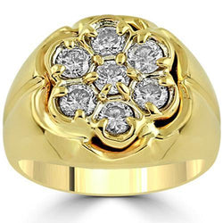 14K Yellow Solid Gold Mens Diamond Pinky Ring 1.38 Ctw