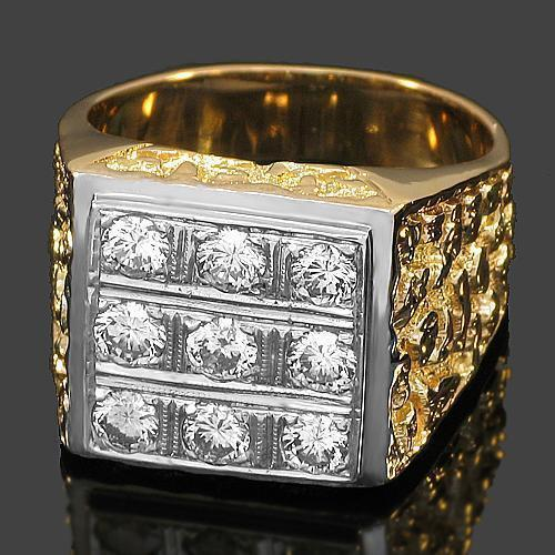 14K Yellow Solid Gold Mens Diamond Ring 1.50 Ctw