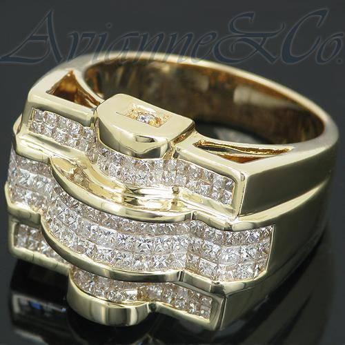 14K Yellow Solid Gold Mens Diamond Ring 3.36 Ctw
