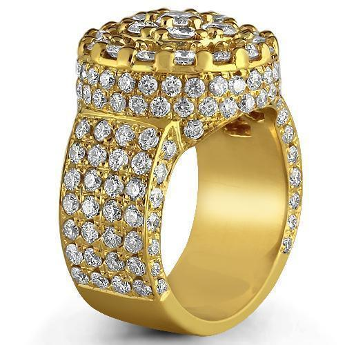 14K Yellow Solid Gold Mens Diamond Ring  5.00 Ctw