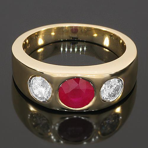 14K Yellow Solid Gold Mens Diamond Ruby Pinky Ring 2.40 Ctw