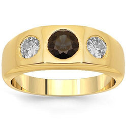 14K Yellow Solid Gold Mens Diamond Sapphire Pinky Ring 2.50 Ctw
