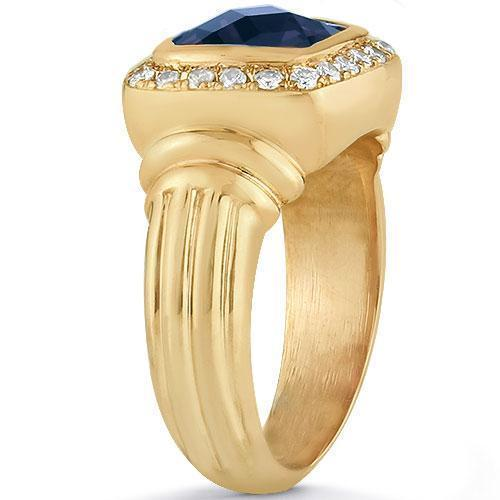 14K Yellow Solid Gold Mens Diamond Sapphire Pinky Ring 3.50 Ctw