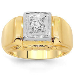 14K Yellow Solid Gold Mens Diamond Solitaire Pinky Ring 0.25 Ctw