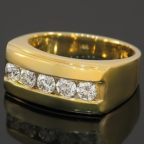14K Yellow Solid Gold Mens Diamond Wedding Band 1.55 Ctw