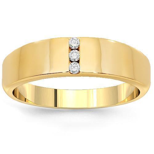 14K Yellow Solid Gold Mens Diamond Wedding Ring Band 0.15 Ctw