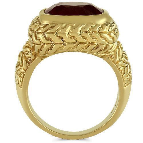 14K Yellow Solid Gold Mens  Ruby Pinky Ring 9.00 Ctw