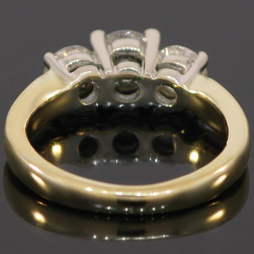 14K Yellow Solid Gold Three Stone Diamond Engagement Ring 1.10 Ctw