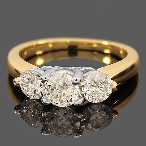 14K Yellow Solid Gold Three Stone Diamond Engagement Ring 1.41 Ctw