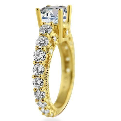 14K Yellow Solid Gold Womens Diamond Four Prongs Designer Engagement Ring 5.53 Ctw