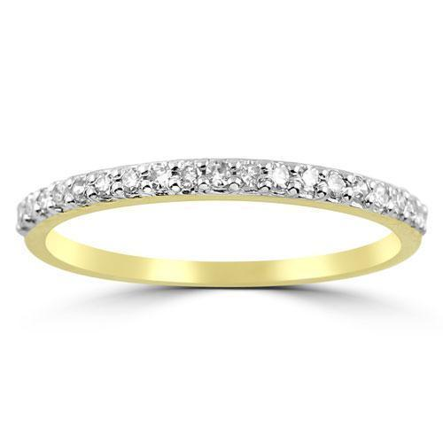 Yellow 14K Yellow Solid Gold Womens Diamond French Pave Wedding Band 0.20 Ctw