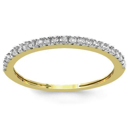 14K Yellow Solid Gold Womens Diamond Wedding Ring Band 0.13 Ctw