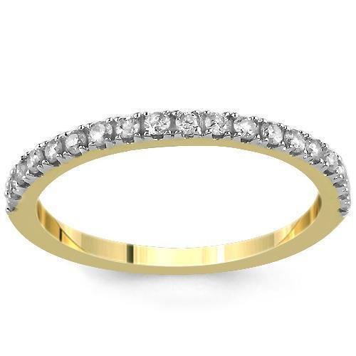 14K Yellow Solid Gold Womens Diamond Wedding Ring Band 0.22  Ctw