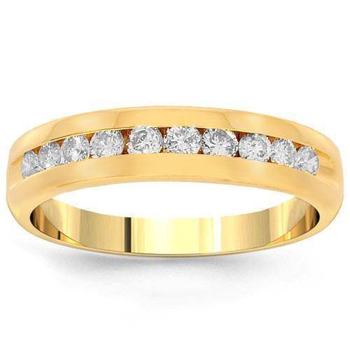 14K Yellow Solid Gold Womens Diamond Wedding Ring Band 0.41 Ctw