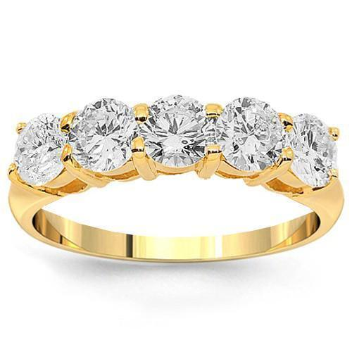14K Yellow Solid Gold Womens Five Stone Diamond Anniversary Ring 1.03 Ctw