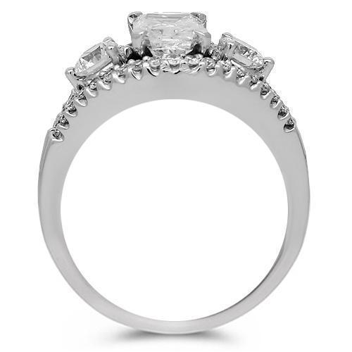 18K Solid White Gold Clarity Enhanced Diamond Engagement Ring 1.34 Ctw