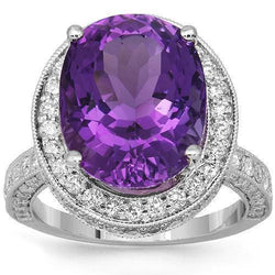 18K Solid White Gold Diamond Amethyst Cocktail Ring 11.29 Ctw