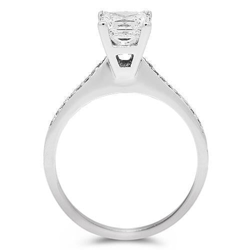 18K Solid White Gold Diamond Bridal Ring Set 1.51 Ctw