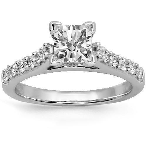 18K Solid White Gold Diamond Engagement Ring 1.08 Ctw