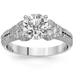 18K Solid White Gold Diamond Engagement Ring 1.50 Ctw