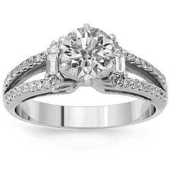 18K Solid White Gold Diamond Engagement Ring 1.62 Ctw