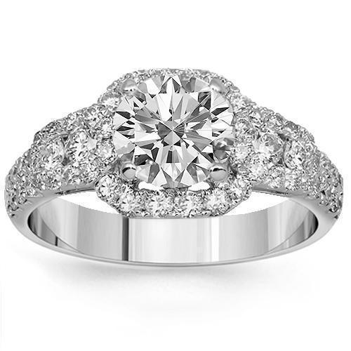 18K Solid White Gold Diamond Engagement Ring 2.27 Ctw